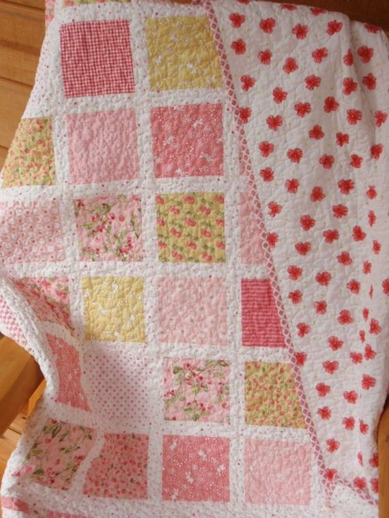 Sweet Pink Baby Girl  Quilt by PiecesOfPine on Etsy