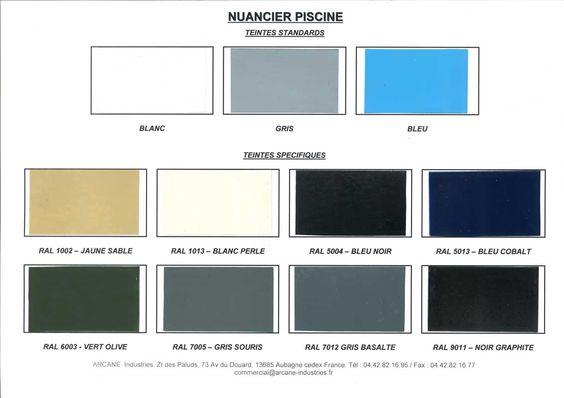 Nuancier couleur disponible piscine for Maison etanche