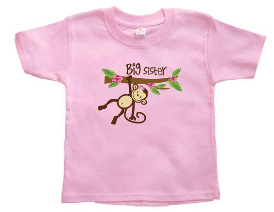 Toddler Shirt, Monkey Big Sister Shirt, Sister Brother Announcment Shirt