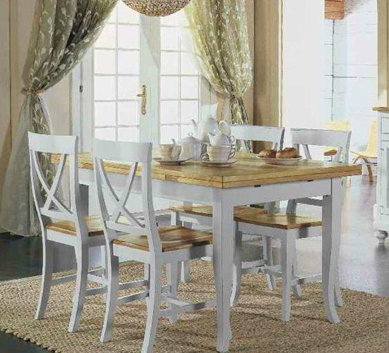 Tavolo allungabile in legno con 4 sedie shabby chic - Sedie di legno per cucina ...