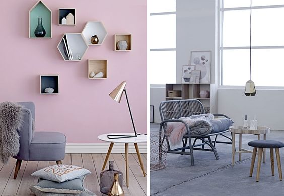 Salon pastel inspiration d co id e style scandinave for Accessoire deco salon