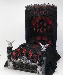 """Blood Rose...Custom made, gothic inspired tester bed.. Fancy appliques on foot board, bleeding roses, dressed in a stunning red lame with imported black laces and trims. Sheer black ruffles and drape. Gorgeous addition to any goth style setting. 4x6 x8"""""""