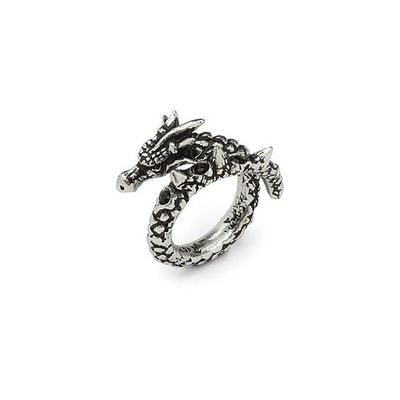 Dragon Wrap Ring ($25) ❤ liked on Polyvore featuring jewelry, rings, dragon ring, metallic jewelry, wrap jewelry and wrap ring