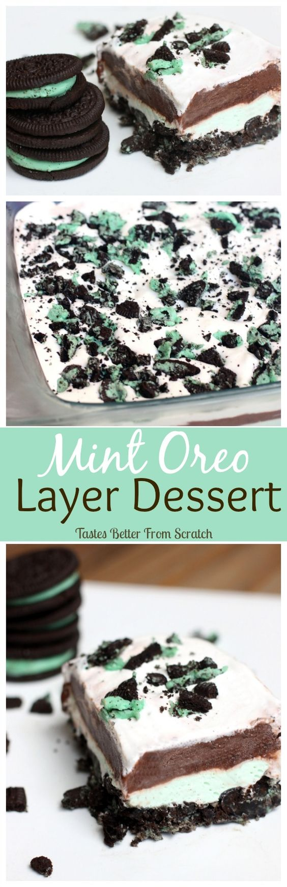 (No-bake) Mint Oreo Layer Dessert Recipe ~ An easy no-bake dessert with layers of mint Oreos, cream cheese, chocolate pudding and Cool Whip!