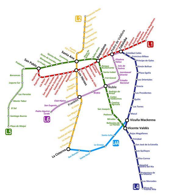 Santiago a l'un des métros les plus modernes de toute l´Amérique latine et le deuxième plus long après celui-là du Mexique, avec ses 103 kms de parcours. Il a été inauguré en 1975, ce qu'il change au métro de Santiago en vétéran en Amérique du Sud. Au milieu de 2013, ont été commencées les oeuvres pour les lignes 3 et 6. Quand elles seront terminées, le Métro de Santiago aura une longueur totale de 140 kms et 136 stations. #santiago #chile #metro #plan