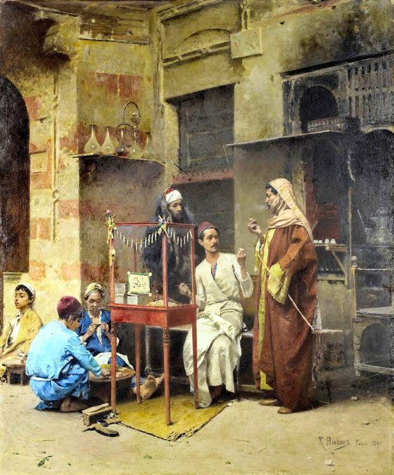 Raphael von Ambros (Austrian ,1855 -1895) - The tobacco seller, Cairo 1891