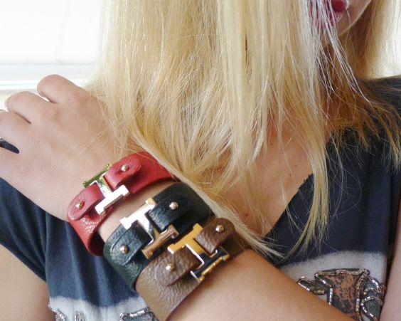 Leather monogram bracelet