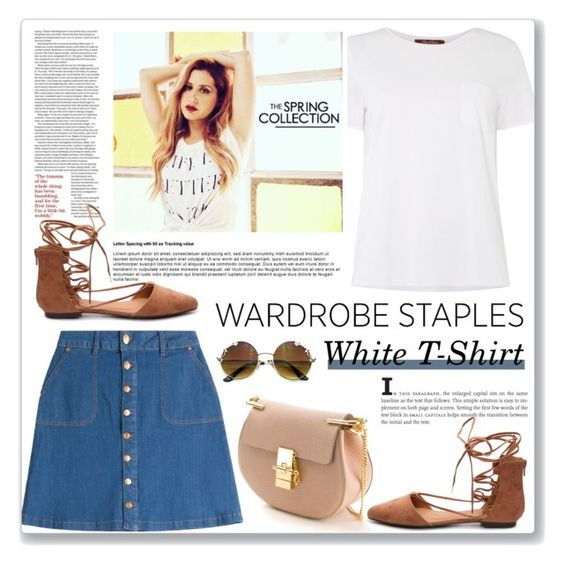 """Wardrobe Staple: White T-shirt"" by dora04 ❤ liked on Polyvore featuring MaxMara, HUGO, Chloé, Qupid and WardrobeStaple"