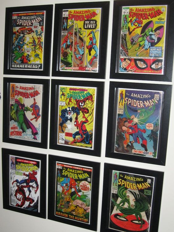 Comic book frames comic books and ikea hacks on pinterest for Kitchen cabinets lowes with marvel superhero wall art