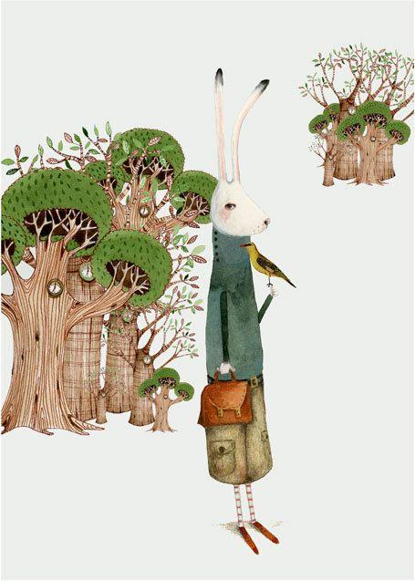 Bunny and Bird illustration print 8x11 giclee print