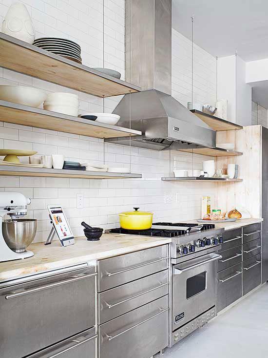 I do like shelves better than cabinets for upper half of kitchen.