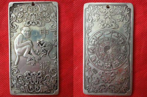 Old Chinese tibet Silver Dragon Phoenix lucky Bullion thanka amulet thangka