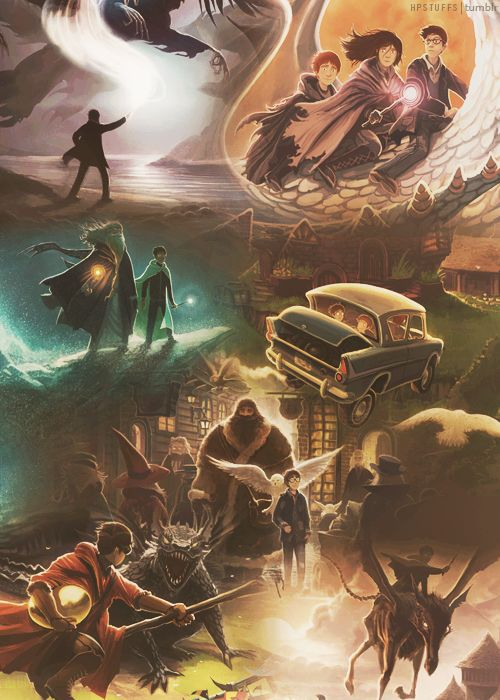 Beautiful new Harry Potter covers melded together.  Via Harry Potter Stuff