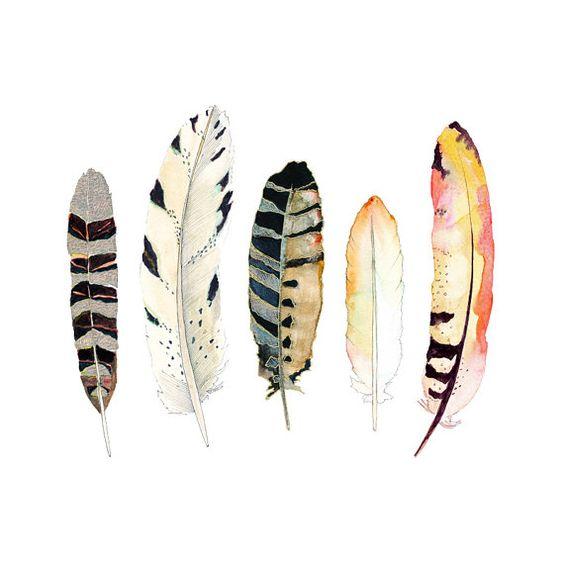 Aquarelle Art.  Impression de la plume.  Art Tribal.  Décor de la nature.