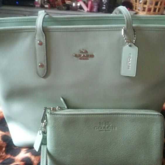Hard to find Coach Sea Glass Tote and Lg Wristlet Wristlet is large double zip around.  Coach Tote does have a zipper. Both in eeeeeuc. Carried for less than a week. Coach Bags Totes