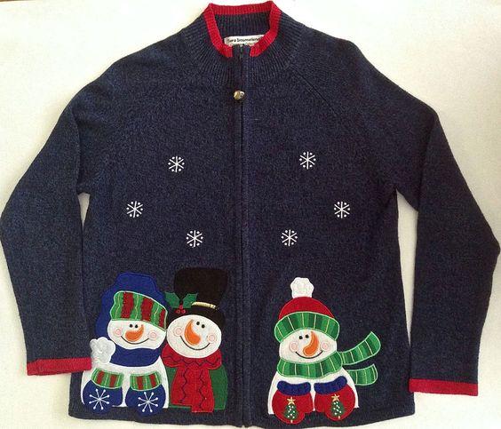 Tiara International Christmas Cardigan Sweater Top Zipper Front Snowmen Size L #TiaraInternational #Cardigan