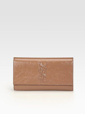 leather monogrammed clutch - Yves Saint Laurent - YSL Large Nude Patent Leather Clutch - Saks ...