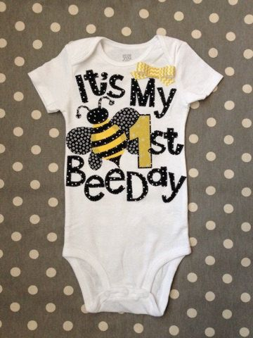 It's My First BeeDay Bumble Bee Birthday Onesie by Polkadotologie, $20.00  @Brianne Morse
