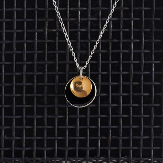 Large Enamel Pendant in Black & Gold, Honeybourne Jewellery Necklaces