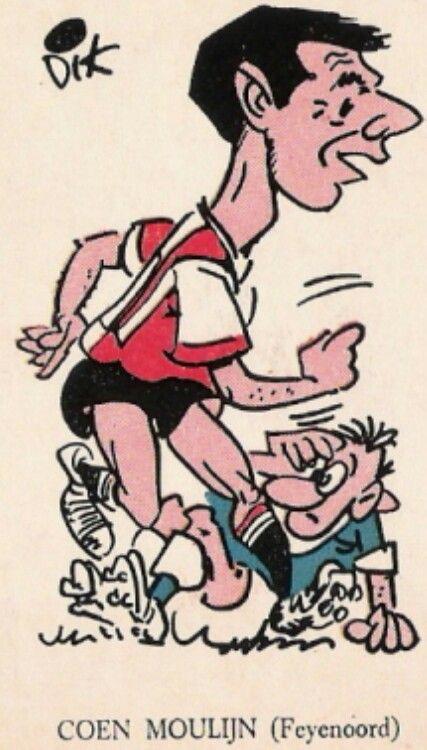 Coen Moulijn 1961 Feyenoord | Karikatuur, Voetballers, Voetbal