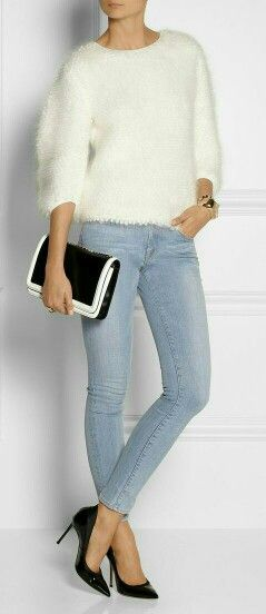 White. Fur. Blue. Black Clutch.