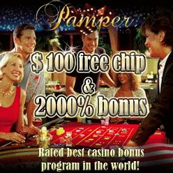 GET 100 FREE CHIPS NO DEPOSITE: Pamper Casino - rated the #1 no-download casino for 2014. This site has the highest rated 3D games on the planet.