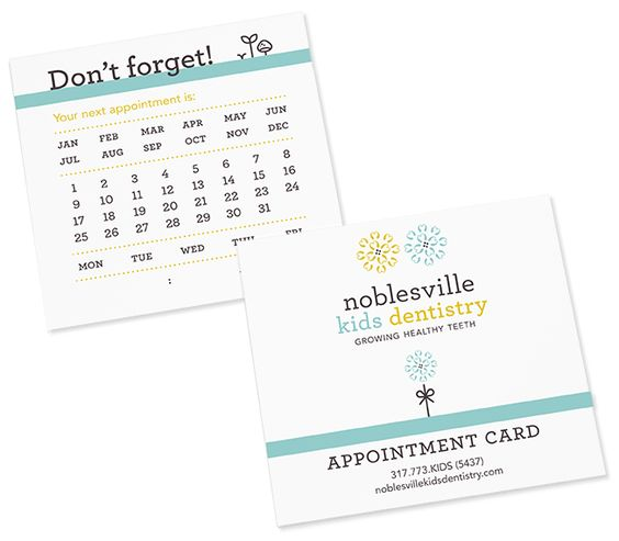 Test Monki, Noblesville Kids Dentistry, dentist, orthodontist - sample appointment card template