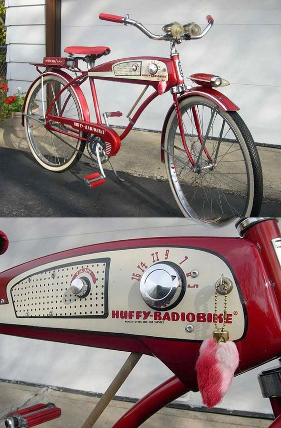 """It has a radio! Solves the """"no earbuds"""" problem. 1955 Huffy-Radiobike 