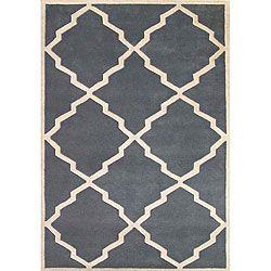 Hand-tufted World Classic Blue/ Grey Wool Rug (5' x 8')