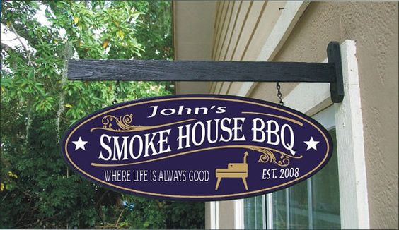 Custom Personalized BBQ Smoker Restaurant Wood by sealevelsigns, $54.99