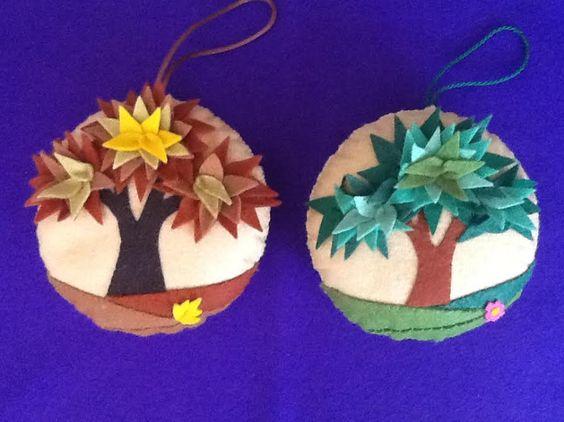 Bola de fieltro con rbol con hojas para colgar en el - Bolas de navidad de fieltro ...