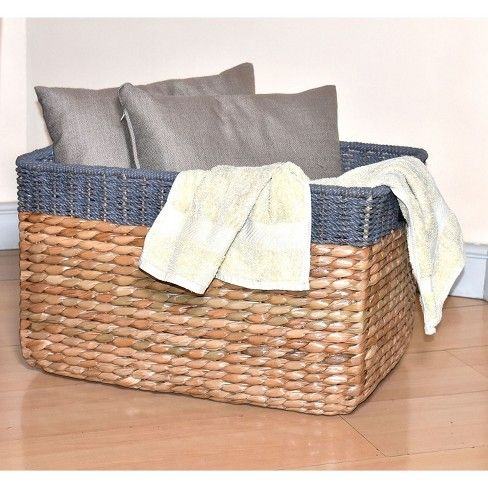 13 25 X22 Seagrass Extra Large Rectangle Storage Basket With Gray Trim Threshold In 2020 Storage Baskets Rectangle Storage Large Storage Baskets