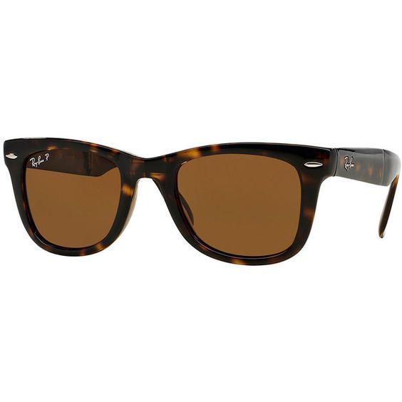 Ray-Ban Polarized Wayfarer Sunglasses ($205) ❤ liked on Polyvore featuring accessories, eyewear, sunglasses, polarised black, polarized sunglasses, wayfarer sunglasses, black wayfarer sunglasses, tortoise shell sunglasses and ray ban sunglasses
