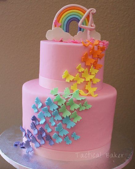 Rainbow Butterfly Birthday Cake - by tacticalbaker @ CakesDecor.com - cake decorating website