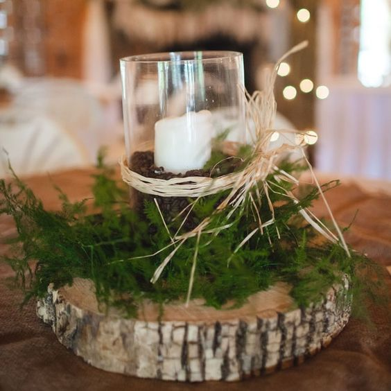 Rustic centerpieces with pillar candle