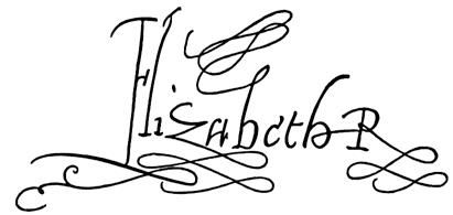 """Elizabeth I's flourished signature. The """"R"""" stands for """"Regina""""-Latin for """"Queen"""". Starting with her studies with her tuto, Cambridge scholar Roger Ascham, Elizabeth Tudor was celebrated for her beautiful handwriting."""