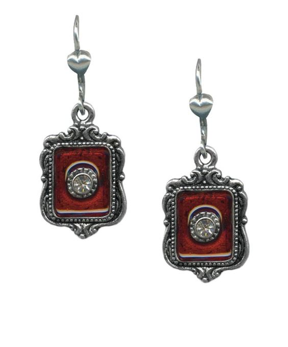 Ornate Rectangular New Romantic Earrings with Hand Poured Enamel and a Crystal Center