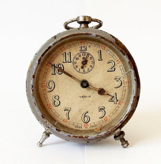 Antique Italian Alarm Clock Made In Italy Veglia Alarm