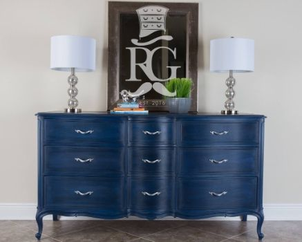 "Dresser Painted in Annie Sloan Chalk Paint Napoleonic Blue, with clear then black wax, a finish I call ""Deep Ocean"""