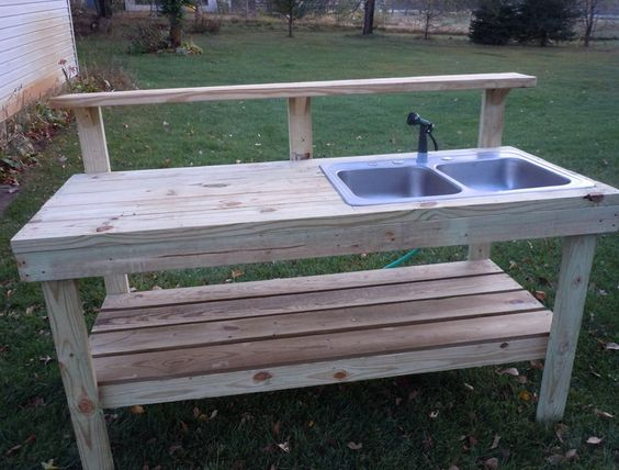 Outdoor potting bench with sink plans gardening for Potting shed plans diy blueprints
