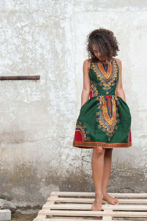 Afikanische Kollektion: Tolles Mini Kleid mit buntem Muster / african collection: mini dress with beautiful colours and pattern by KOKOworld via DaWanda.com