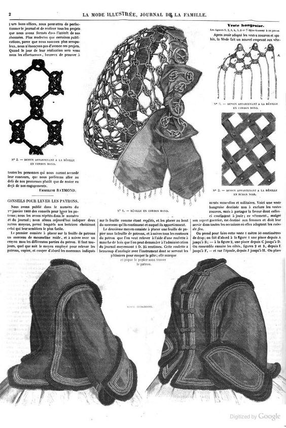 "project for ball ""snood"". La Mode illustrée(1861):"
