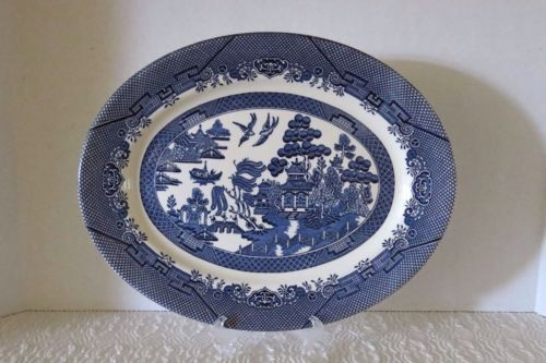 Churchill-White-Blue-Willow-14-5-Large-Oval-Platter-Made-In-England