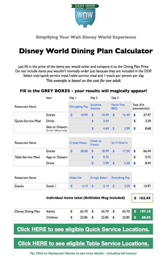 Walt Disney World dining plan calculator