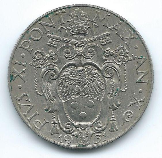 COIN MONEY Vatican City 1931 50 Centesimi AN X Nickel  https://ajunkeeshoppe.blogspot.com/   1.0P727B4.13009IMG2269,2270