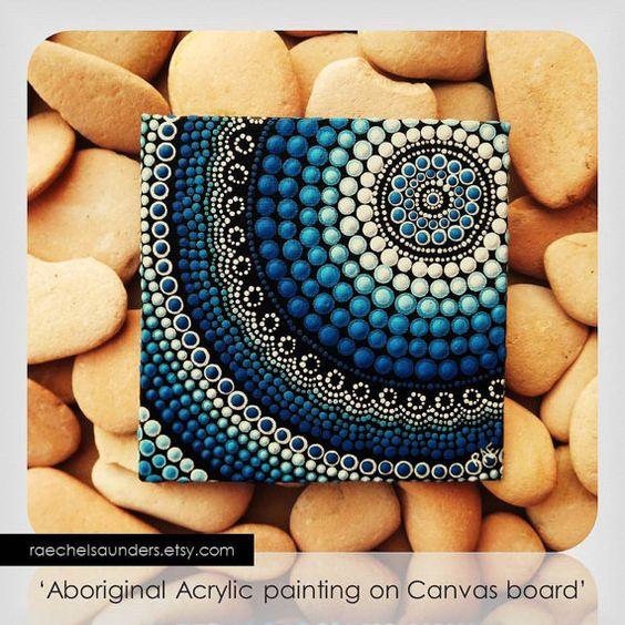 Dot Painting, Aboriginal Art, small Original Water Art painting, acrylic paint on canvas board, blue decor, 10cm x 10cm