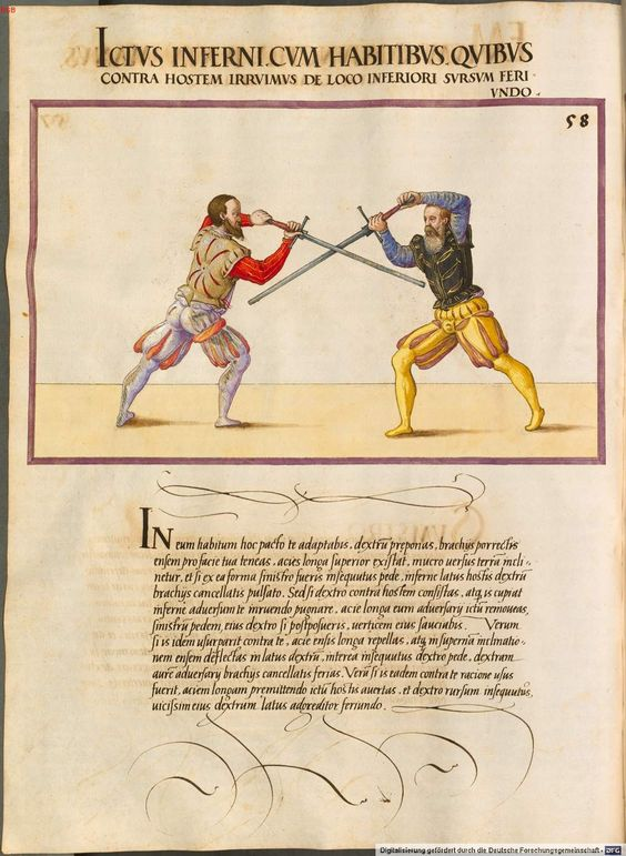 Editor vs. Art Director, from Paul Hector: De arte athletica I - BSB Cod.icon. 393, 1, Augsburg, Mid-16th c., http://opacplus.bsb-muenchen.de/search?oclcno=162232469 , view whole book here: http://daten.digitale-sammlungen.de/~db/bsb00006570/image_1