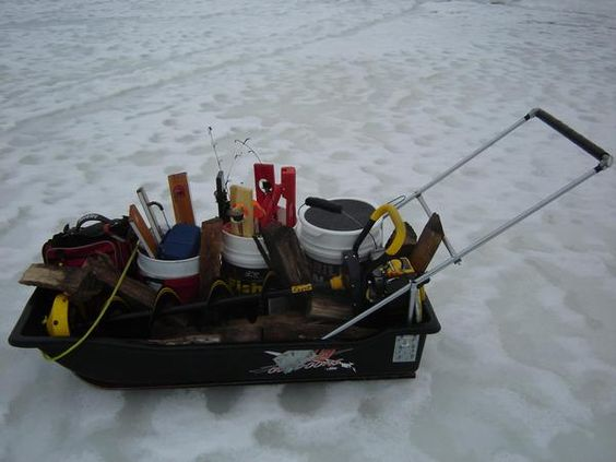 Home made fishing sleds ice fishing pinterest ice for Ice fishing sleds