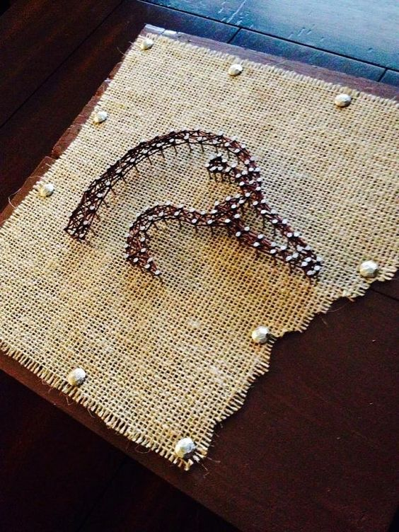 Duck in String Art on Shape of Arkansas mad of by NailedItDesign, $36.00