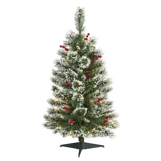3ft Pre Lit Frosted Swiss Pine Berries Artificial Christmas Tree With Clear Led Lights Christmas Tree Artificial Christmas Tree Green Christmas Tree